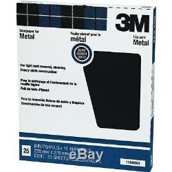 10 Pk 3M 9 X 11 Coarse Metal Sanding Emery Cloth 25 Sheets/Pk 11696NA