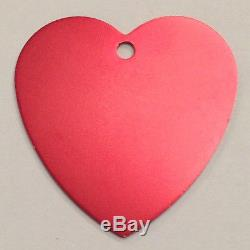100 XL Heart identification tags Anodized Aluminum Blank Bulk ID Wholesale