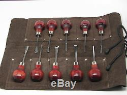 10pc Wood Carving Wood Block Tools & Leather Tool Roll Ramelson USA 107 209