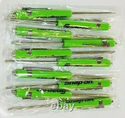 12 GREEN Snap on Tools Flat Tip Pocket Screwdrivers with Clip & Magnetic Top NEW