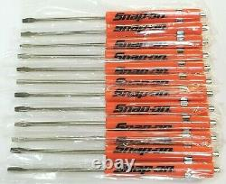 12 ORANGE Snap on Tools Flat Tip Pocket Screwdrivers withClip & Magnetic Top NEW