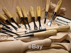 13pc Mastercarver Starter Wood Carving Tools Set Canvas Roll 401003 Maple Mallet