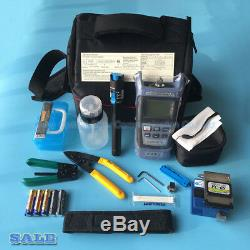 14 PCS FTTH Tool Kit with FC-6S Fiber Cleaver Power Meter 5km VFL Wire stripper