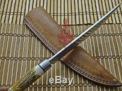 14 Unique Custom Made D2 Tool Steel Blade, Chef Knife, Stag Antler Handle