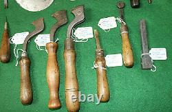 16 pcs Antique Collection of Saddlery Leather Makers Craft Work Tools Inv#HB101