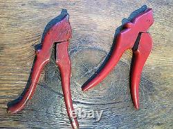 1900 Chinese Hand Sewing tool, 2 wood carved Birds With Red Lacquer Finish
