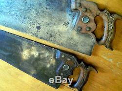 2 Antique Vintage Henry Disston Saws 26 ACME 120 & 24 No 112 with Nib Unrestored