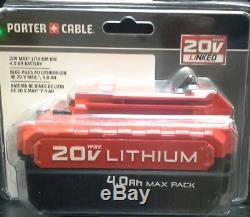 2 Porter-Cable PCC685L 20V 4.0 Lith-ion and 1 PCC296L 20V MAX RAPID CHARGER NEW