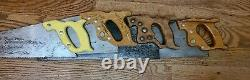 20 26 Vintage Wooden Crosscut Handsaws Craftsman Atkins Disston Trophy D 8 Saw