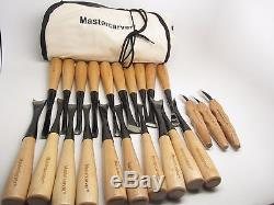 20pc Mastercarver Detail Wood Carving Tools & 3pc Knife Set withCanvas Roll