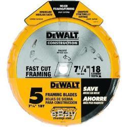 (25 Blades) DeWalt Construction Fast Cut Framing Circular Saw Blades 18T 7-1/4