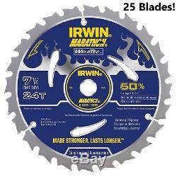 25 PK! Irwin 24035 14035 7-1/4 24T Marathon WeldTec Circular Saw Blades Lot