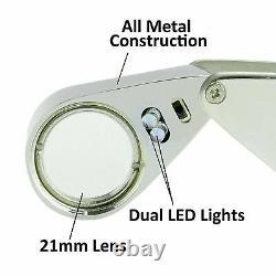 30PK 20X LED Illuminated Jewelers Jewelry Loupe Magnifier Magnifying Glass Lens