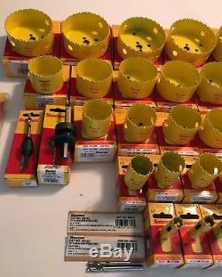 37 PC HUGE WHOLESALE LOT STARRETT BI METAL HOLE SAW KIT SET 9/16 TO 5 WithARBORS