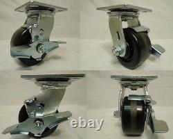 4 x 2 Swivel Casters Phenolic Wheel with Brake(4) 800lb each Tool Box