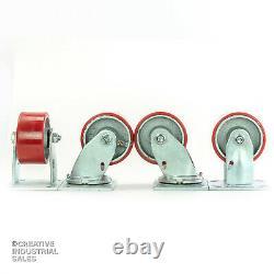 4 x 2 Swivel Casters Polyurethane Wheel (2) Rigid (2) 700lb each Tool Box
