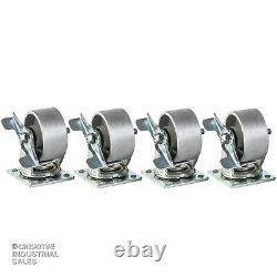 4 x 2 Swivel Casters Steel Wheel with Brake 700lb each (4) Tool Box