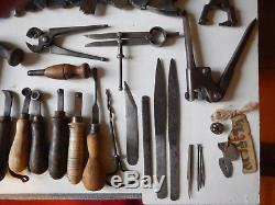 46x set completo attrezzi calzolaio shoemaker's cobbler's leather worker's tools
