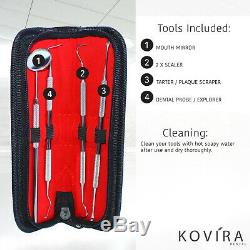 4pc Set Dental Dentist Scaler Tweezers Instruments pick tool kit Leather Case UK