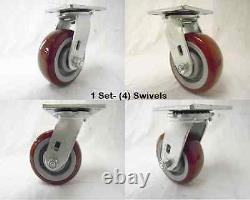 5 x 2 Swivel Caster Burgundy Polyurethane Wheel 600 lbs each Tool Box (4)