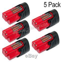 5 x New For Milwaukee 48-11-2401 M12 12V 12 Volt Red Lithium Battery Pack