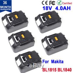 5pk New 18V 4.0Ah Battery For Makita BL1815 BL1830 BL1840 Lithium-Ion Compact US