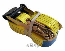 (6) 2 x 27' Flat Hook 10,000 Lb Ratchet Straps Heavy Duty Tie Downs New