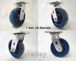 6 x 2 Swivel Caster Solid Polyurethane Elastomer Wheel 1000lbs Ea Tool Box (4)