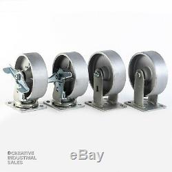 6 x 2 Swivel Caster Steel Wheel Brake Rigid 1200lb ea Heavy Duty Tool Box