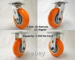 6 x 2 Swivel Caster apex Polyurethane Wheel (2)& Rigid(2) 1200 lbs ea Tool Box