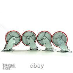 6 x 2 Swivel Casters Polyurethane Wheel on Steel Hub 1200lb ea. (4) Tool Box