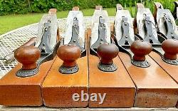 7 DIFFERENT STANLEY WOOD BOTTOM PLANES NO.'S 33, 32, 31, 30, 29, 28 and 27-1/2