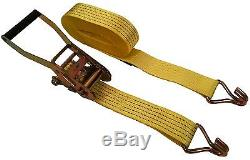 8 Pack 2 inch x 27' Ft Ratchet Tie Down Cargo Straps 5000 Lbs J Hooks