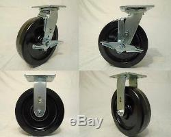 8 x 2 Swivel Caster Heavy Duty Phenolic Wheel Brk(2)Rigid(2)1250lb ea Tool Box
