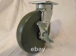 8 x 2 Swivel Caster Kingpinless Elastomer Wheel Brake 2000 lbs ea Tool Box (4)