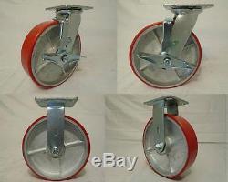 8 x 2 Swivel Caster Polyurethane Wheel withBrake (2) Rigid (2)1400lb ea Tool Box