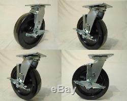 8 x 2 Swivel Casters Heavy Duty Phenolic Wheel Brake (4) 1250lb each Tool Box