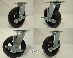 8 x 2 Swivel Casters Rubber Wheel on Steel Hub Brake (4) 600lb each Tool Box