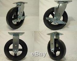 8 x 2 Swivel Casters Rubber Wheel with Brake (2) Rigid (2) 600lb each Tool Box