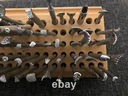 83pc Vintage Craftool Leather Stamps Lot /Set And Leather Tools with Wooden Holder