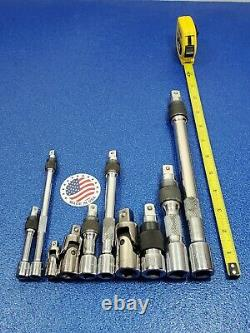 ARMSTRONG 10pc LOCKING EXTENSION & UNIVERSAL JOINT SET 1/4 3/8 1/2 DRIVE LOT