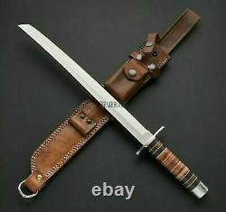 AWESOME CUSTOM HANDMADE 25.50 inches D2 TOOL STEEL HUNTING SWORD WITH SHEATH