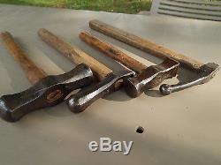 Antique/Vintage Lot of 4 French Hammer, Blacksmith, Tinsmith, Metalwork Machinist