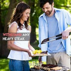 BBQ Grill Tool Set Stainless Steel 4-Pcs + Barbecue Utensil Spatula Tongs Brush