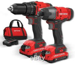 Cordless Drill With Battery And Charger Craftsman Hammer Driver Set Lithium Two