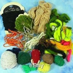 Fishing Fly Tying Lot Thompson Vise Tools Thread Feathers Fur Yarn Hair Hooks