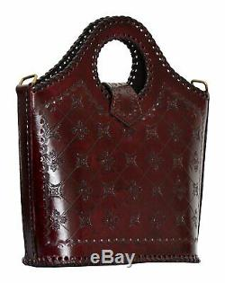 French Tooled Leather Basket Cutout Handle cum Sling Bag Christmas Gift Lot 5pcs