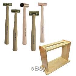 Grace Gunsmith Gun Care Brass Copper Hammer Tool Set 5pc With Wood Stand Holder