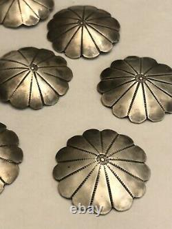 Great Set Of 8 ANTIQUE Early Navajo Hand Made And Tooled Silver Buttons