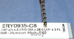 HARVEY TOOL carbide drill 3 FLUTE FiB2 coated 0.093DIA X 1.102 LOC. 4 pcs lot